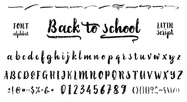 Retour à l'école. police dessinée sur la base de la calligraphie manuscrite