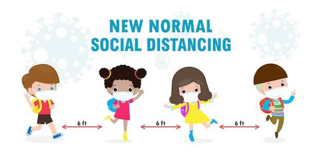 Retour à l'école pour un nouveau concept de mode de vie normal. des enfants heureux portant un masque facial et la distance sociale protègent le coronavirus covid 19, un groupe d'enfants et d'amis vont à l'école isolé sur fond
