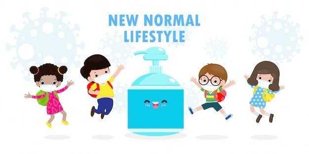 Retour à l'école pour un nouveau concept de mode de vie normal. étudiants heureux enfants mignons portant un masque facial et un gel d'alcool ou un gel lavant à la main et une distanciation sociale protègent le coronavirus ou covid-19