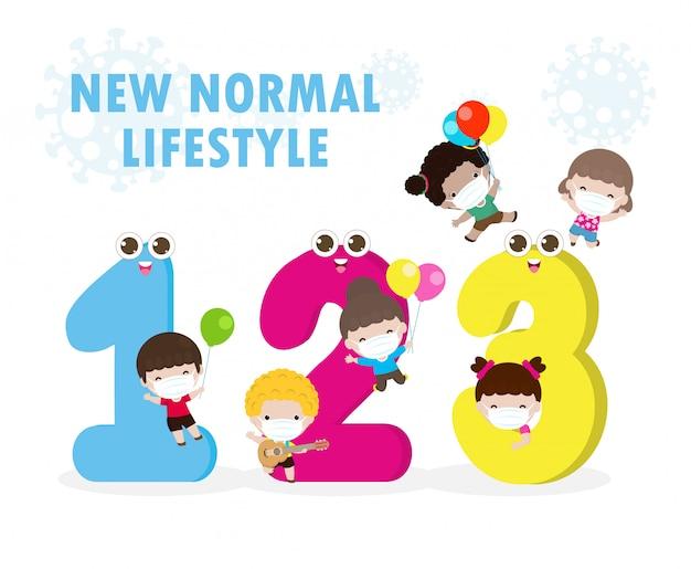 Retour à l'école pour un nouveau concept de mode de vie normal, mascotte de 123 numéros et enfants portant un masque médical de protection chirurgicale pour prévenir les coronavirus ou covid-19, soins de santé isolé sur fond blanc