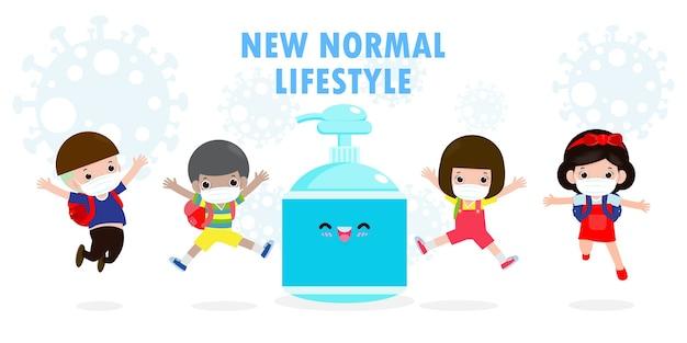 Retour à l'école pour un nouveau concept de mode de vie normal.