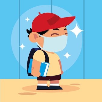 Retour à l'école pour un nouveau garçon normal, étudiant mignon avec livre de masque et illustration de sac à dos