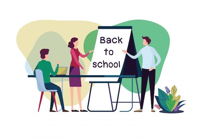 Retour à l'école avec professeur et élève