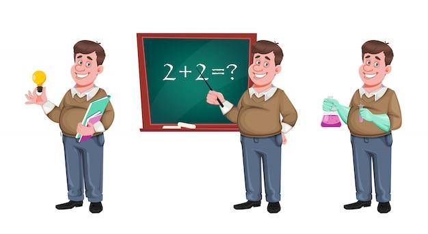 Retour à l'école. professeur de sexe masculin joyeux