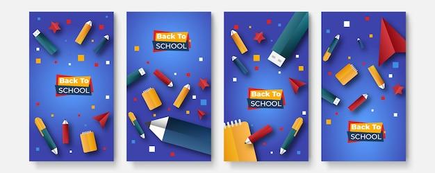 Retour à l'école. retour à la vente de l'école. vecteur de bannière pour les publicités sur les réseaux sociaux, les publicités web, les cartes postales, les cartes, les messages commerciaux, les dépliants à prix réduit et les bannières de grande vente. ensemble de modèles d'histoires de médias sociaux