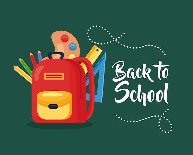 Retour à l'école avec sac à dos et fournitures scolaires