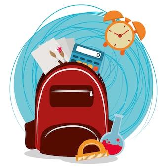 Retour à l'école, sac à dos horloge calculatrice brosse papier illustration de l'éducation élémentaire