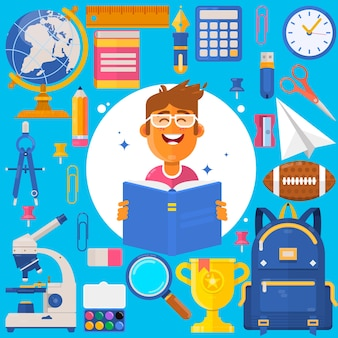 Retour à l'école. sac élève ou étudiant. accessoires de formation crayons, stylos, cahiers, règle, papeterie, manuels. iillustration de vecteur