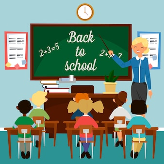 Retour à l'école. salle de classe avec des enfants. enseignant au tableau. concept pédagogique. intérieur de classe. scolaires en classe. illustration vectorielle