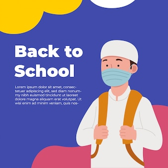 Retour à l'école salutation enfant arabe portant un masque