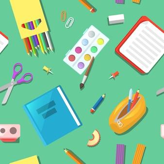 Retour à l'école seamless pattern avec des éléments de l'éducation.