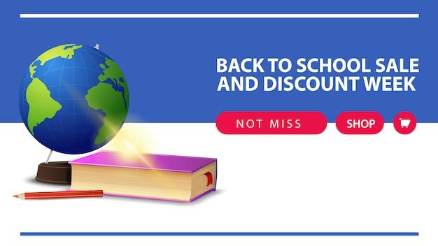 Retour à l'école et à la semaine de remise, bannière web horizontale de remise avec globe