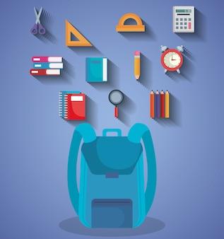 Retour à l'école set icônes vector illustration design