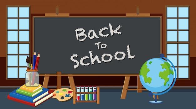 Retour à l'école signe en classe avec des équipements scolaires