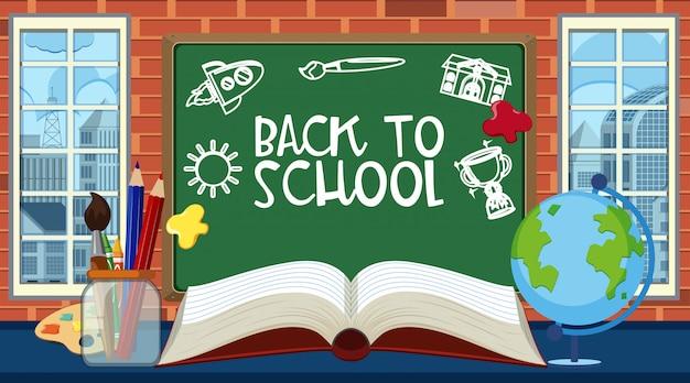 Retour à l'école signe avec de nombreux articles scolaires