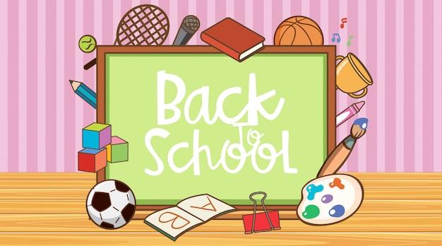 Retour à l'école signe avec tableau et articles scolaires