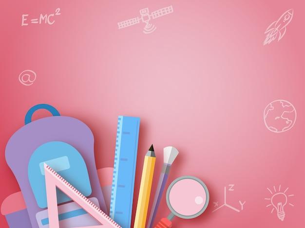 Retour à l'école, style de papier d'art stationnaire.