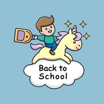 Retour à l'école avec un t-shirt garçon et licorne imprimé joyeux