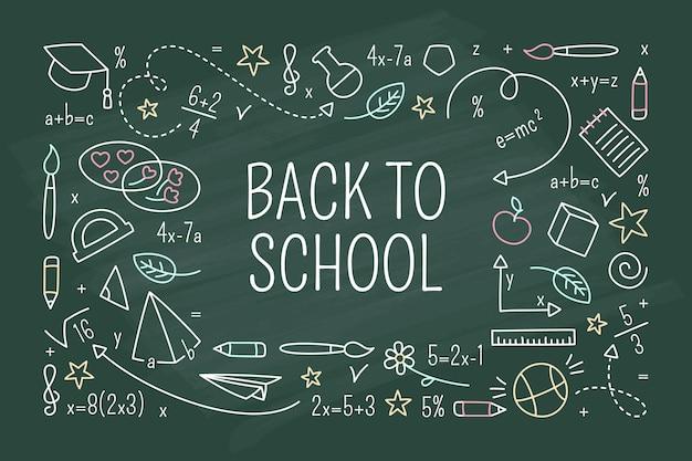 Retour à l'école tableau noir fond