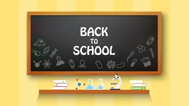 Retour à l'école texte dessin sur tableau noir avec des éléments scolaires et des éléments