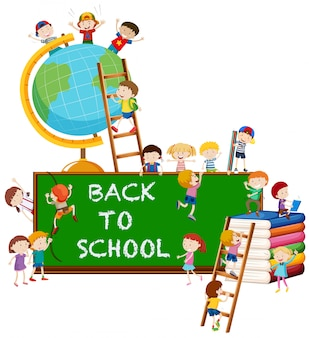 Retour à l'école thème avec enfants et globe