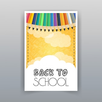 Retour à l'école vecteur vente été design brochure
