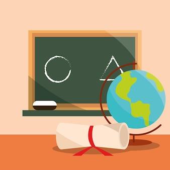 Retour à l & # 39; éducation scolaire carte et diplôme