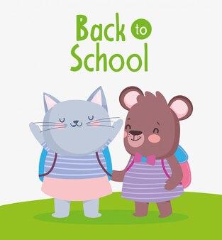 Retour à l'éducation scolaire chat femelle et ours avec sacs à dos vector illustration