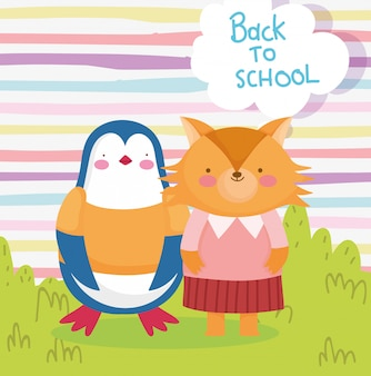 Retour à l'éducation scolaire dessin animé mignon pingouin et renard