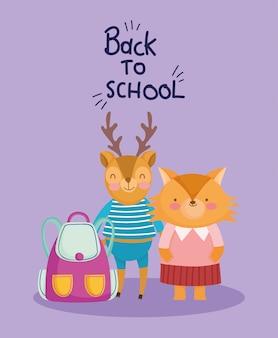 Retour à l'éducation scolaire mignon cerf et renard avec sac à dos