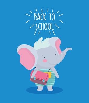 Retour à l'éducation scolaire mignon petit éléphant avec sac à dos