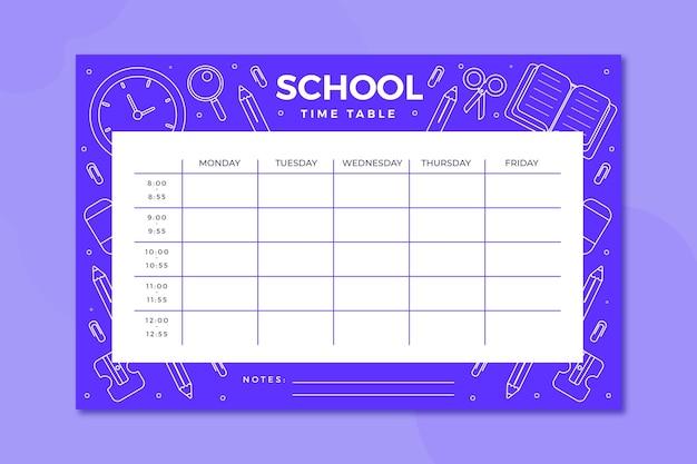 Retour à l'horaire scolaire au design plat