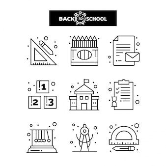 Retour à l'icône de l'école. education et apprentissage ligne icônes définies.