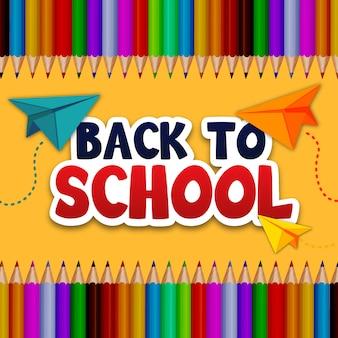 Retour à l'illustration de l'école avec des avions et des crayons