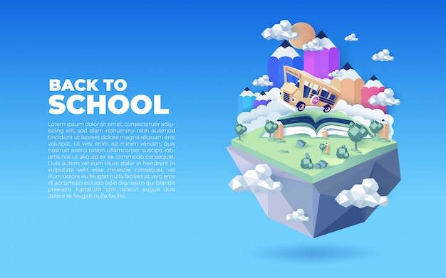 Retour à l'illustration de l'école avec modèle de texte