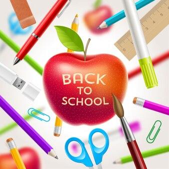 Retour à l'illustration de l'école - pomme rouge avec des articles de voeux et de papeterie