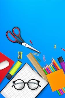 Retour à l'illustration des fournitures de fond de l'école