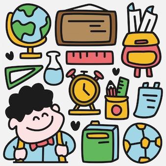 Retour à l'illustration mignonne de dessin animé d'école.