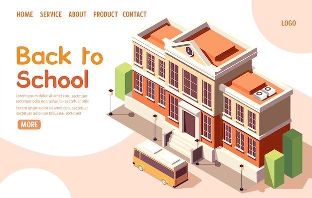 Retour à l'illustration de la page de destination isométrique de l'école