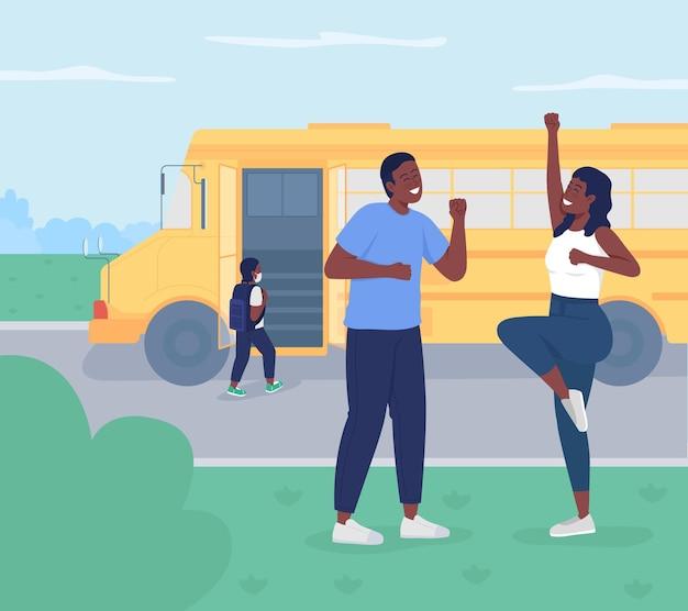 Retour à l'illustration vectorielle de couleur plate de l'école. heureux jeunes parents qui envoient leur enfant à l'école maternelle. la femme et le mari profitent du temps libre. personnages de dessins animés familiaux 2d avec paysage en arrière-plan