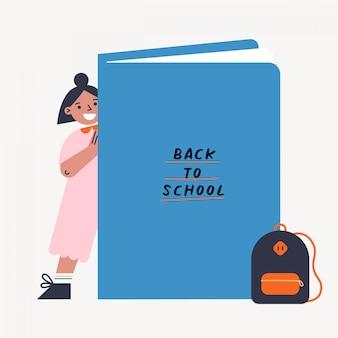 Retour à l'illustration vectorielle école avec kid et livre. fille debout derrière le gros livre. illustration colorée design plat