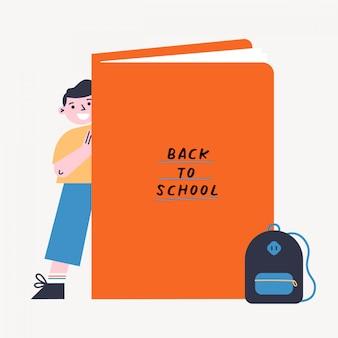 Retour à l'illustration vectorielle école avec kid et livre. garçon debout derrière le gros livre. illustration colorée design plat