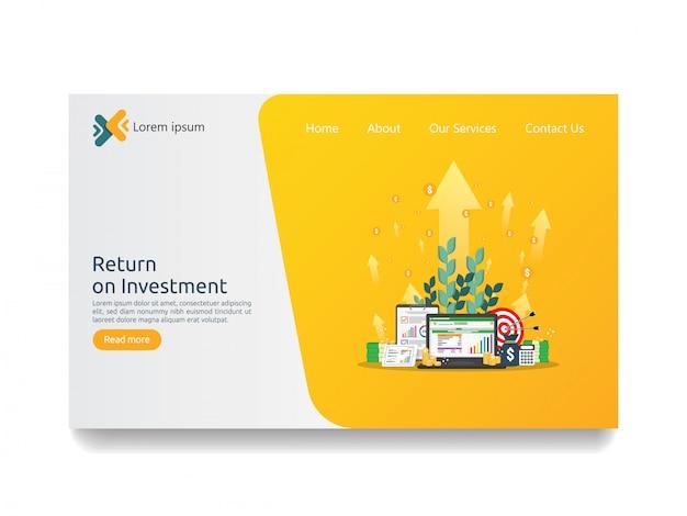 Retour sur investissement retour sur investissement et seo page de destination d'analyse
