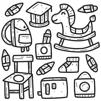 Retour à lécole dessin animé doodle illustration
