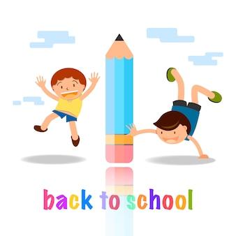 Retour à la notion de dessin animé école enfants jouant avec une illustration au crayon