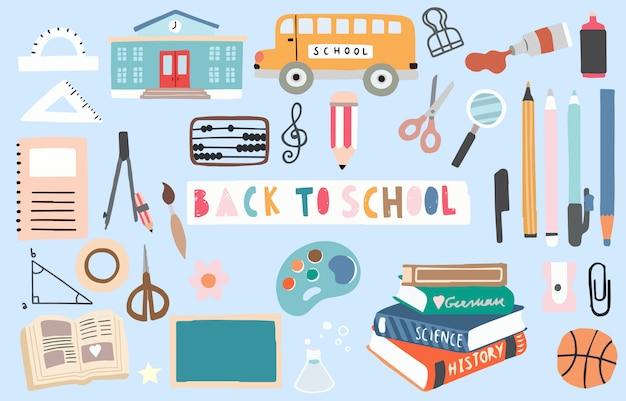Retour à l'objet de l'école avec crayon, bus, livre, stylo, bille, taille-crayon élément modifiable