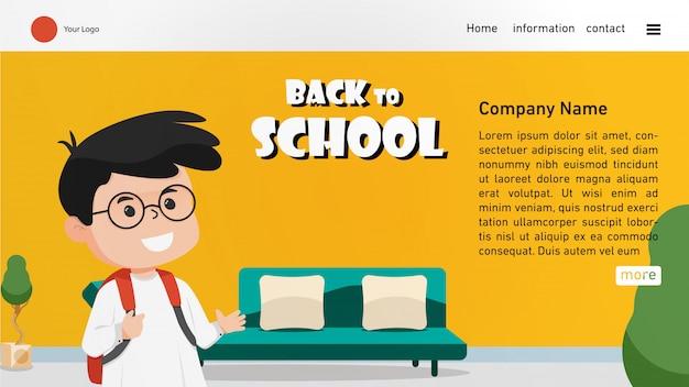 Retour à la page d'accueil de l'école avec un garçon mignon