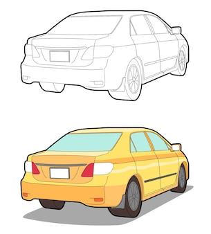 Retour page de coloriage de dessin animé de voiture pour les enfants