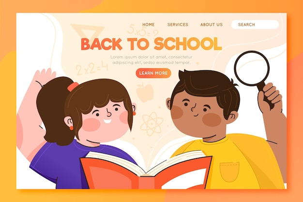 Retour à la page de destination de l'école avec des élèves illustrés