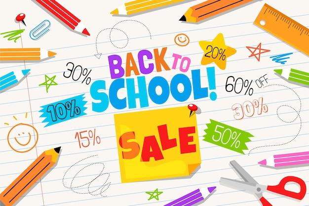 Retour à plat à l'arrière-plan des ventes de l'école